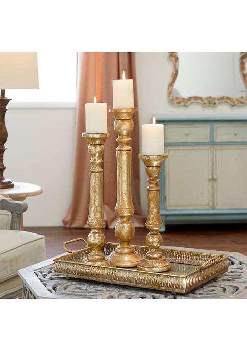 Traditional Style Turned Column Metallic Candlesticks - Set of 3