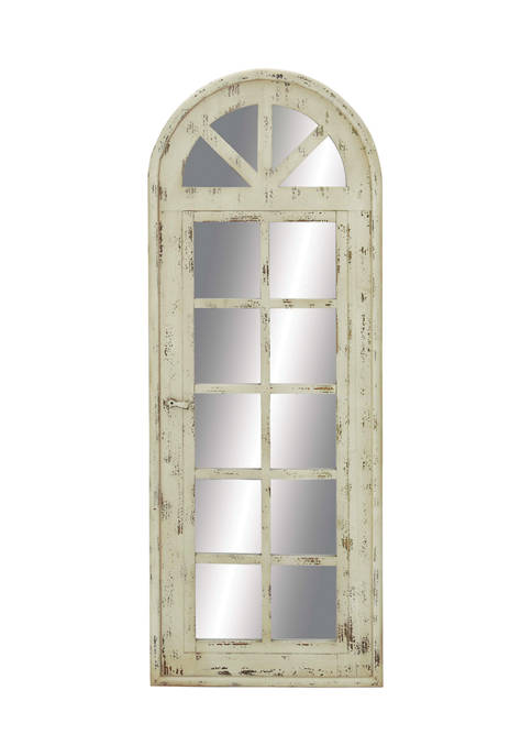 Tall Wooden Arched Window Frame Wall Mirror With Antique White Finish, 20 in x 53 in