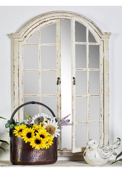 Monroe Lane Farmhouse Wall Mirror With Arched Wood