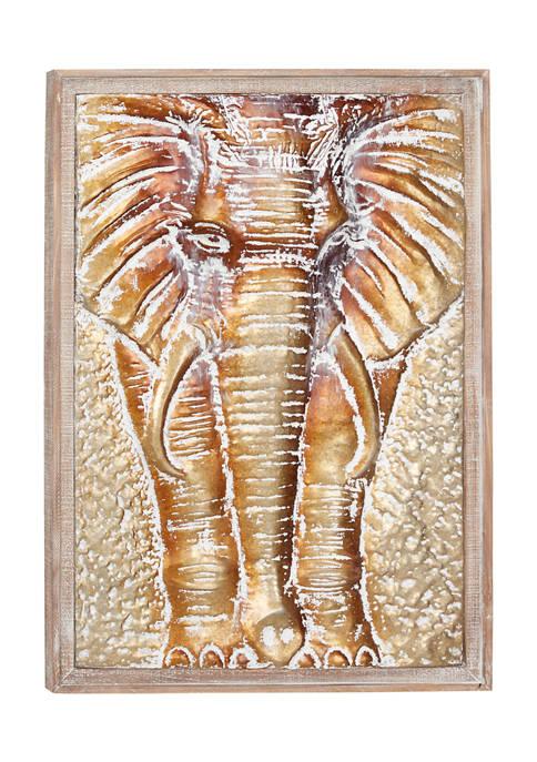 Monroe Lane Large, Rectangular Bronze and Gold Elephant