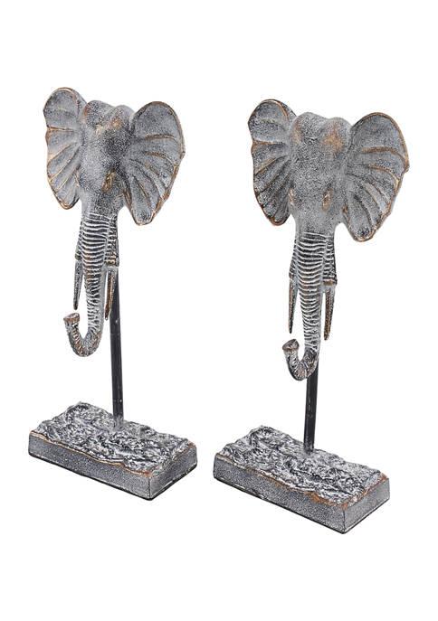 Monroe Lane Set of 2 Eclectic Metal Elephant