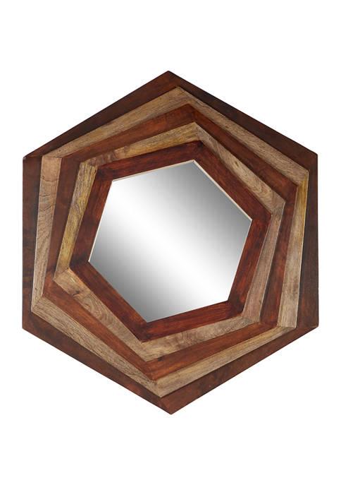 Large Hexagon Multi Layered Wood Wall Mirror, 32 in x 35 in