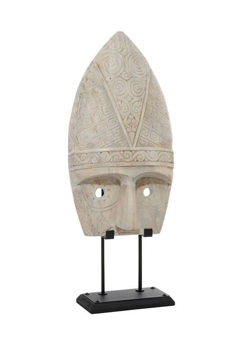 Monroe Lane White Wood Vintage Mask Sculpture