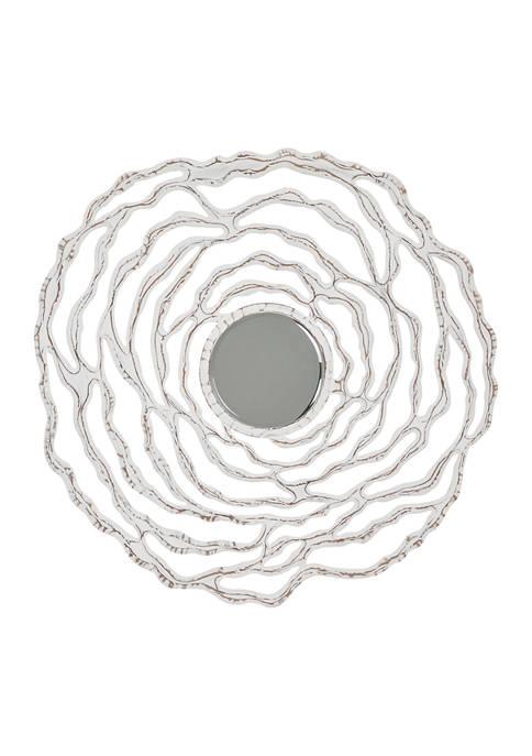 Monroe Lane Large Abstract Flower White Wood Wall