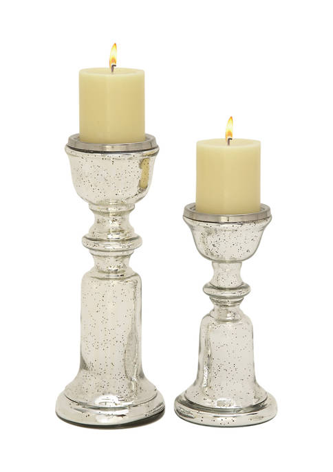 Monroe Lane Glass Traditional Candle Holder Set of