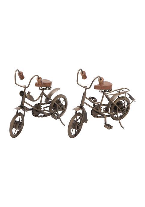 Set of 2 Metal Vintage Bicycle Sculpture
