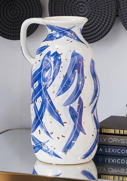 Monroe Lane Blue Ceramic Contemporary Vase, 7 in