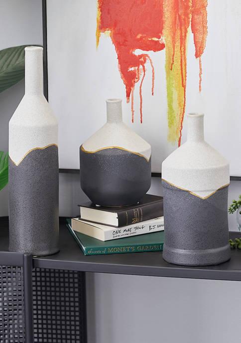 Multi-Colored Ceramic Modern Vase - Set of 3