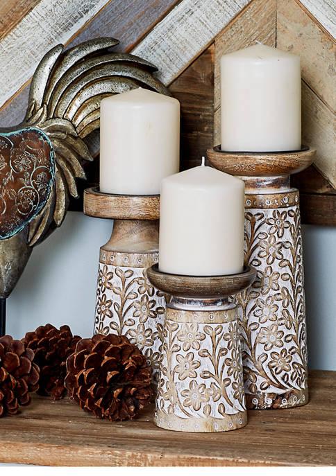 Monroe Lane Set of 3 Wood Metal Candle