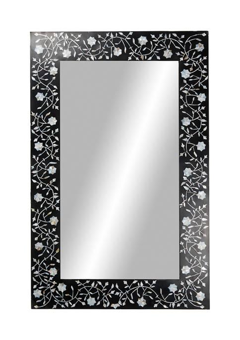 Monroe Lane Rectangular Black Wood Wall Mirror with