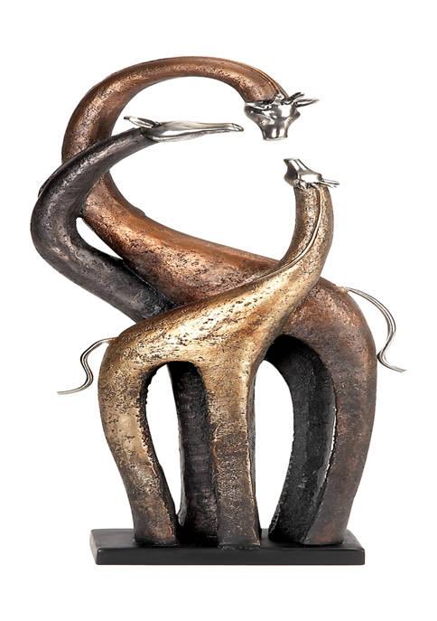 Monroe Lane Brass Eclectic Polystone Sculpture Giraffe