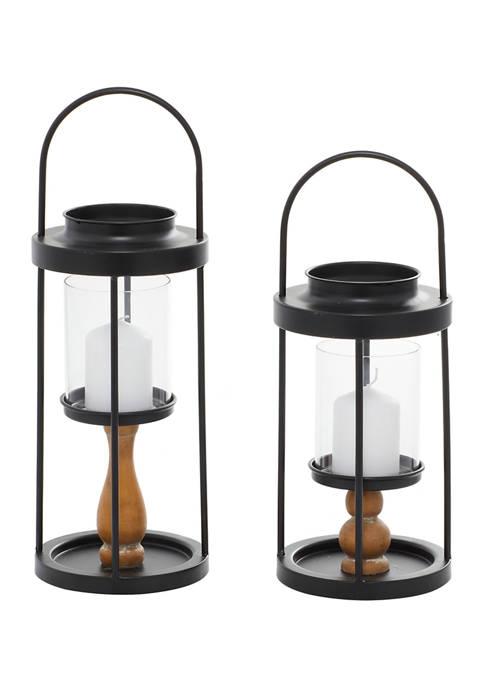 Monroe Lane Iron Contemporary Lantern Set of 2