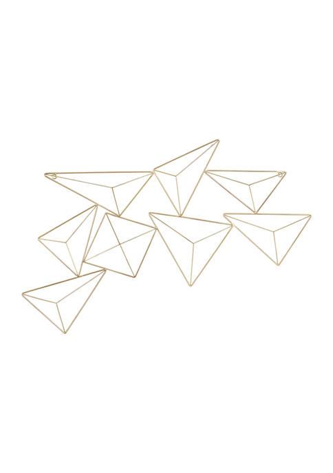 Abstract Geometric Triangular Gold Metal Wall Décor