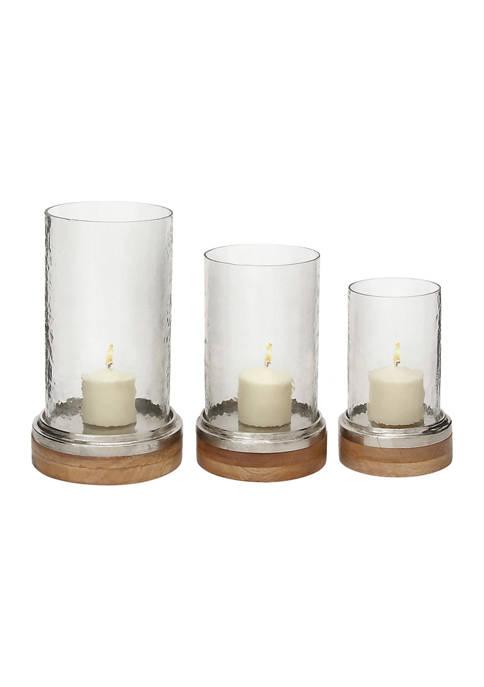 Monroe Lane Glass Traditional Hurricane Lamp Set of
