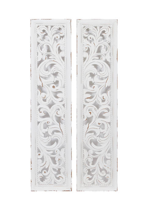Monroe Lane Tall Distressed White Carved Wood Wall