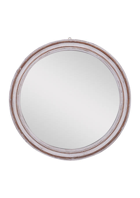 Monroe Lane Large Round Wood Wall Mirror With