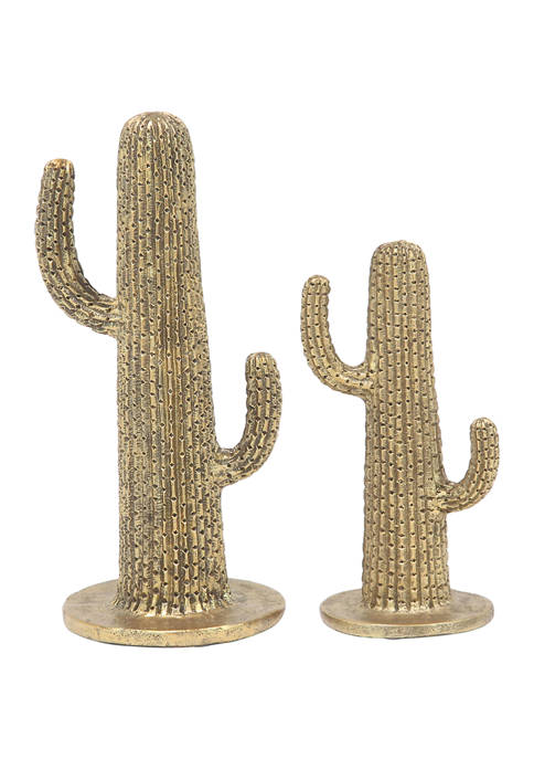 Monroe Lane Set of 2 Polystone Eclectic Cactus