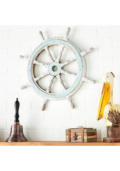 Monroe Lane Rustic Distressed Wooden Ship Wheel