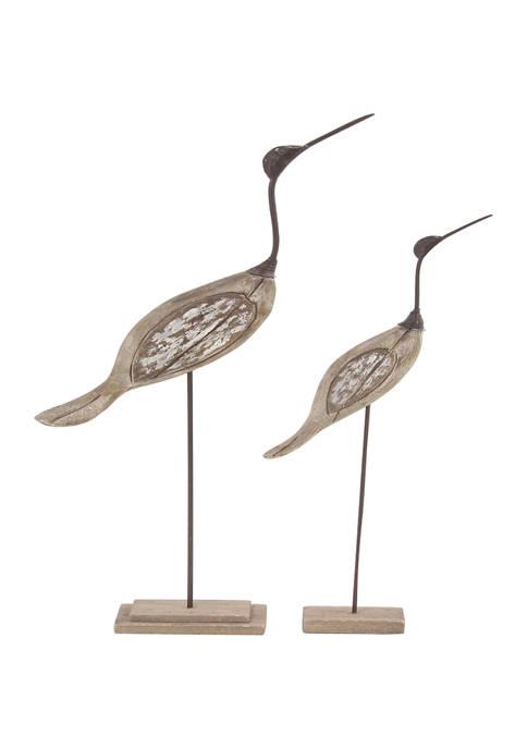 Monroe Lane Set of 2 Wood Coastal Bird