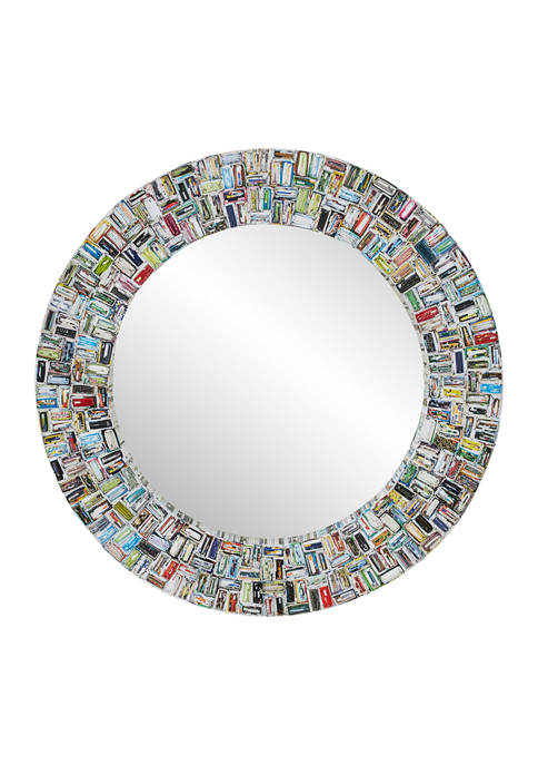 Monroe Lane Large Round Mirror w/ Colorful Abstract