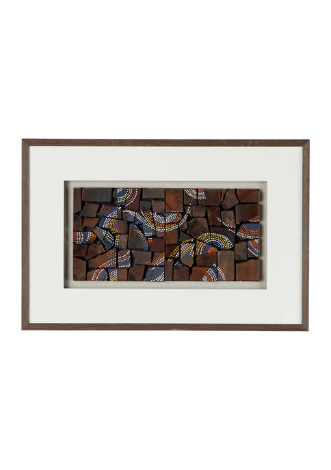 Natural Wood with Multi-Colored Dotted Designs Shadow Box