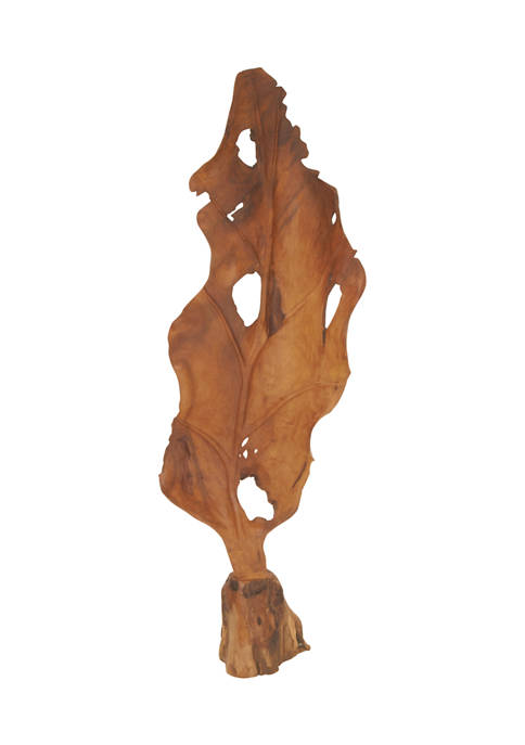 Monroe Lane Teak Wood Natural Leaf Sculpture
