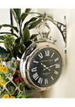 Silver Pocket Watch Style Wall Clock w/ Wall Bracket, 16 in L x 22 in H