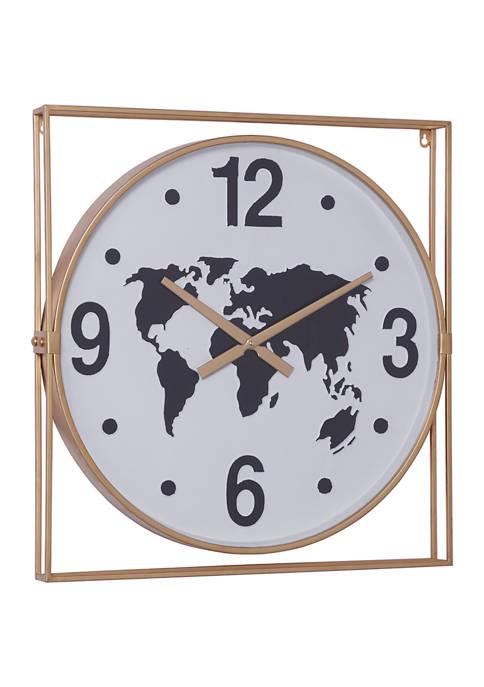Monroe Lane Square Gold Metal Framed Wall Clock