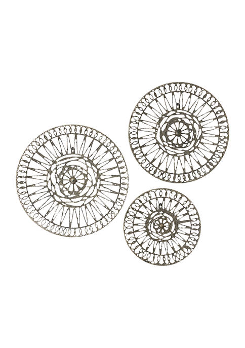 White And Gray Metal Round Wall Décor Set