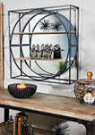 31 Inch Large Round Industrial Metal Wall Mirror with Wood Shelves Square and Metal Frame