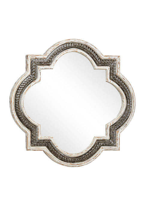 Vintage Style Distressed White Wood & Gray Iron Wall Mirror in Quatrefoil Frame, 29.5 in x 29.5 in