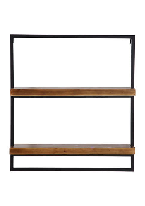 26 in x 2 4 in Rectangular Black Metal and Wood 2 Tier Wall Shelf
