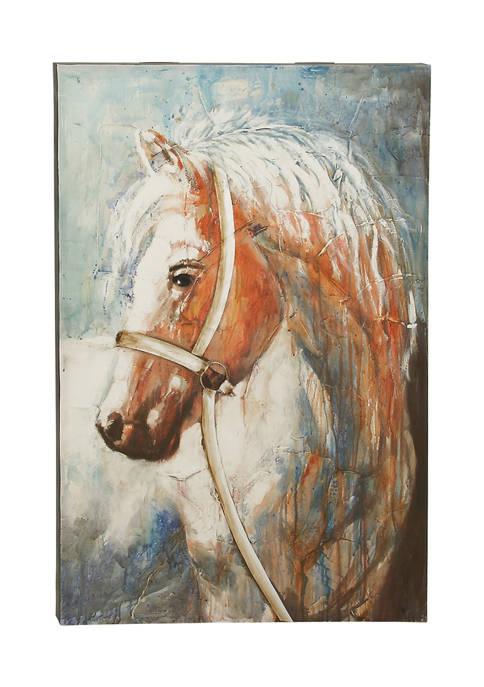 Monroe Lane Large Brown Acrylic Horse Painting on