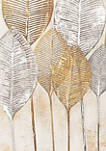 Natural Wood and Canvas Painted Veined Leaves Wall Art