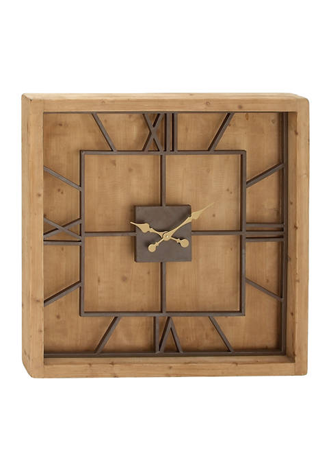 Oversized Square Metal and Wood Clock, 40 in x 40 in