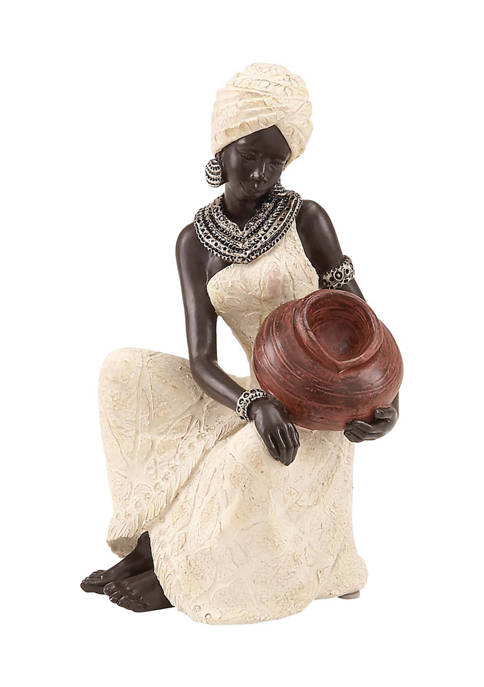 Monroe Lane Cream Eclectic Polystone African Lady Sculpture