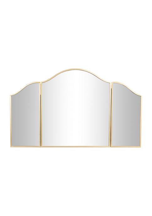 Monroe Lane Large Gold Metal Arched Trifold Mirror,