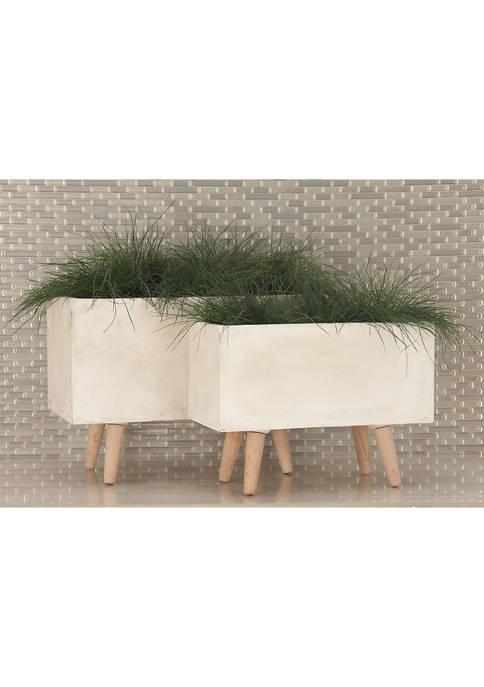 Set of 2 Fiber Clay Nesting Planters
