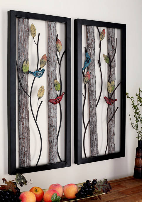Monroe Lane Birds on Branches Wood and Metal