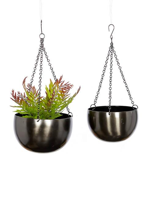 Metal Hanging Planters - Set of 2
