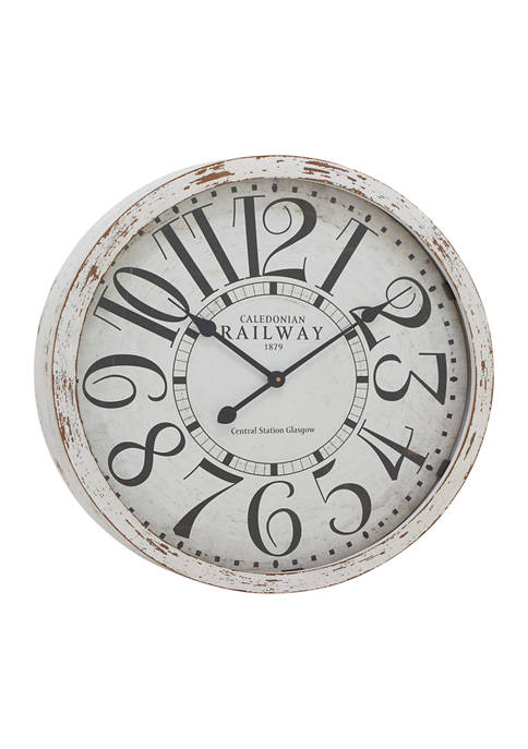 Large Round Railway Wood Wall Clock With Distressed Wood Rim