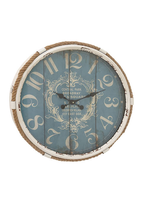 Monroe Lane Metal Wall Clock with Natural Rope