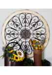 Traditional Wooden Framed Iron Heart Scrollwork Wall Medallion
