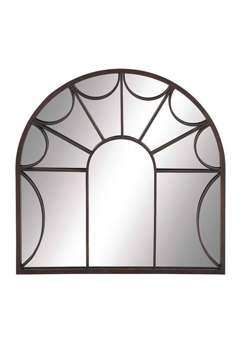 Monroe Lane Black Metal Arched Windowpane Wall Mirror