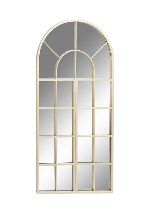 Silver Metal and Wood Arched Wall Mirror