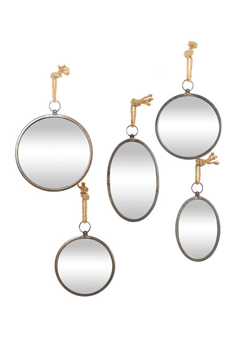 Round Gray Metallic Hanging Wall Mirror with Rope Hanger Set