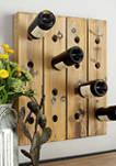 Rustic Wooden 16-Bottle Wall Wine Rack
