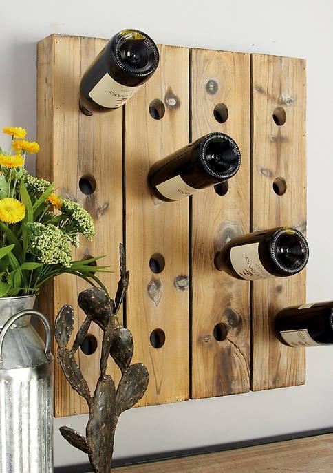 Monroe Lane Rustic Wooden 16-Bottle Wall Wine Rack