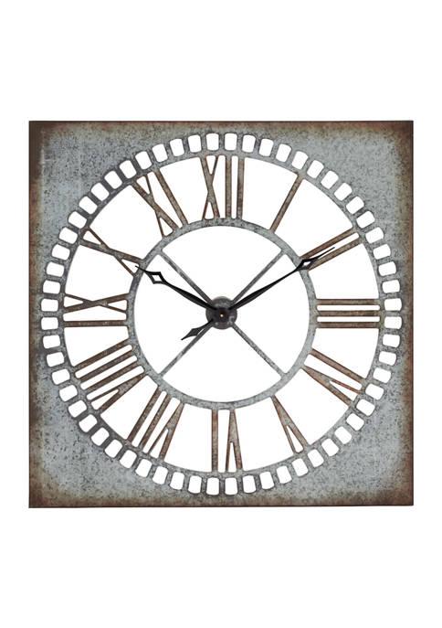 Monroe Lane Farmhouse Galvanized Metal Wall Clock with