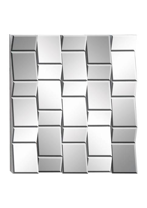 Rectangular Silver Wooden Three-Dimensional Wall Mirror